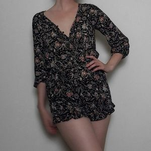 MOSSIMO | Paisley 3/4 Sleeve Button-Up Romper